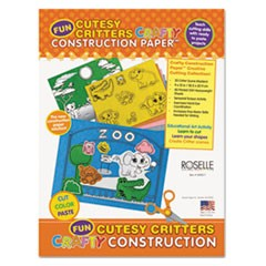 Crafty Printed Construction Paper, 55 lbs., 9 x 12, Cutesy Critters, 40 Shts/Pad