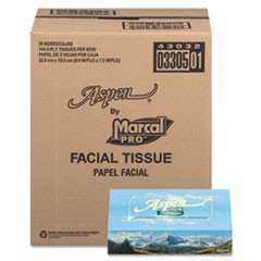 Aspen 100% Recycled Facial Tissue, 2-Ply, White, 144 Sheet/Box, 36 Box/CT