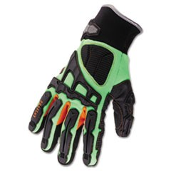ProFlex 925F(x) Dorsal Impact-Reducing Gloves, Black-Green-Orange, Large, 6/CT