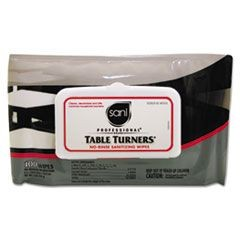 Table Turners No-Rinse Sanitizing Wipes, 8.2 x 9.8, White