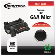 Remanufactured CC364A(M) (64AM) MICR Toner, 10000 Page-Yield, Black