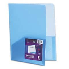 Plastic Two-Pocket Folder, 20-Sheet Capacity, Translucent Blue