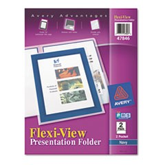 Flexi-View Two-Pocket Polypropylene Folder, Translucent Navy, 2/Pack