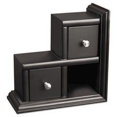 Reversible Wood Bookend with Drawers, 9.1 x 4.2 x 9.1, Black