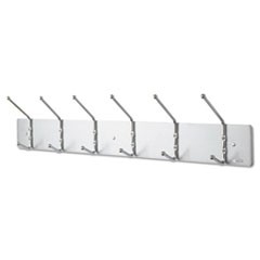 Metal Wall Rack, Six Ball-Tipped Double-Hooks, 36w x 3.75d x 7h, Satin Metal