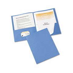 "Two-Pocket Folder, Prong Fastener, Letter, 1/2"" Capacity, Light Blue, 25/Box"