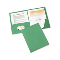 "Two-Pocket Report Cover, Tang Clip, Letter, 1/2"" Capacity, Green, 25/Box"
