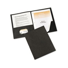 "Two-Pocket Report Cover, Tang Clip, Letter, 1/2"" Capacity, Black, 25/Box"
