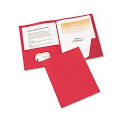 "Two-Pocket Report Cover, Tang Clip, Letter, 1/2"" Capacity, Red, 25/Box"