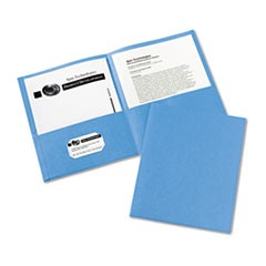 Two-Pocket Portfolio, Embossed Paper, 30-Sheet Capacity, Light Blue, 25/Box