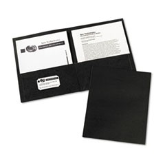 Two-Pocket Portfolio, Embossed Paper, 30-Sheet Capacity, Black, 25/Box
