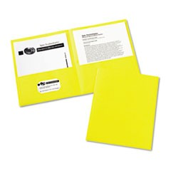 Two-Pocket Portfolio, Embossed Paper, 30-Sheet Capacity, Yellow, 25/Box