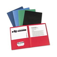 Two-Pocket Portfolio, Embossed Paper, 30-Sheet Capacity, Assorted Colors, 25/Box