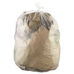 High-Density Can Liners, 38 x 60, 60-gal, 22 Micron, Clear, 25/RL, 6 RL/Carton