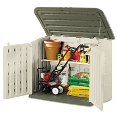 Large Horizontal Outdoor Storage Shed, 57 x 32 x 47, Olive Green/Sandstone