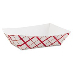 Paper Food Baskets, 3 lb Capacity, 7.2 x 4.95 x 1.94, Red/White, 500/Carton