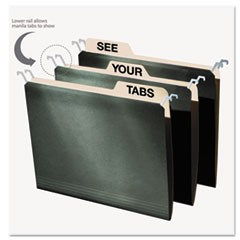 Hanging File Folders with Innovative Top Rail, Letter Size, 1/4-Cut Tab, Standard Green, 20/Pack