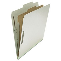 Four-Section Pressboard Classification Folders, 1 Divider, Letter Size, Gray, 10/Box