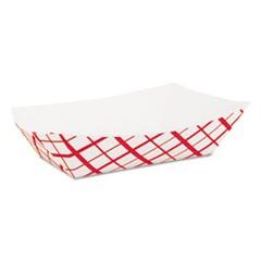 Paper Food Baskets, 2.5lb, Red/White, 500/Carton