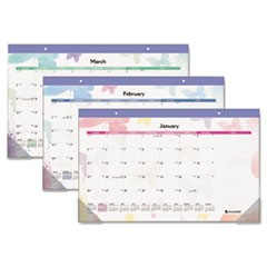 Watercolors Recycled Monthly Desk Pad Calendar, 17 3/4 x 10 7/8, 2015