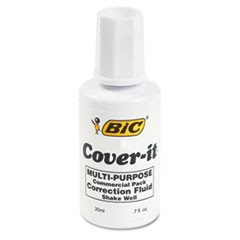 1Cover-It Correction Fluid, 20 ml Bottle, White