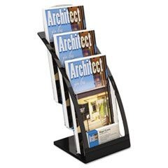 Three-Tier Leaflet Holder, 6-3/4w x 6-15/16d x 13-5/16h, Black