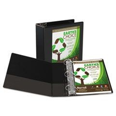 "Earth's Choice Heavy-Duty Biodegradable D-Ring View Binder, 3"" Cap, Black"