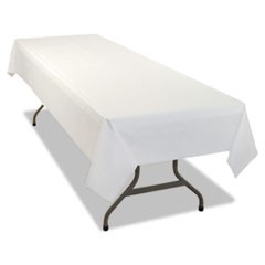 1Rectangular Table Cover, Heavyweight Plastic, 54 x 108, White, 24 Each/Carton