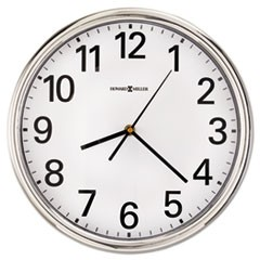 "1Hamilton Wall Clock, 12"" Overall Diameter, Silver Case, 1 AA (sold separately)"