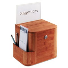 1Bamboo Suggestion Box, 10 x 8 x 14, Cherry
