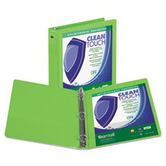 "Clean Touch Round Ring View Binder with Antimicrobial Protection, 4"", Lime"