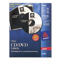 Laser CD Labels, Glossy Clear, 40/Pack