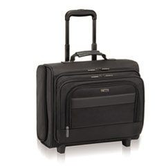 "Classic Rolling Overnighter Case, 15.6"", 16 1/2 x 6 1/2 x 13, Ballistic Poly, BK"