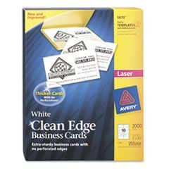 Two-Side Printable Clean Edge Business Cards, Laser, 2 x 3 1/2, White, 2000/Box