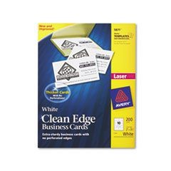 Two-Side Printable Clean Edge Business Cards, Laser, 2 x 3 1/2, White, 200/Pack
