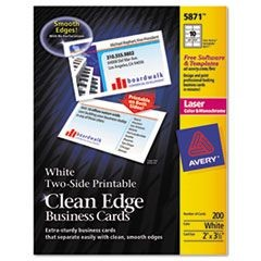 Two-Side Printable Clean Edge Business Cards, Laser, 2 x 3 1/2, White, 1000/Box