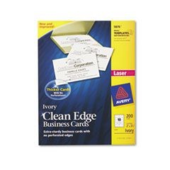 Two-Side Printable Clean Edge Business Cards, Laser, 2 x 3 1/2, Ivory, 200/Pack