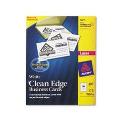 Two-Side Printable Clean Edge Business Cards, Laser, 2 x 3 1/2, White, 400/Box