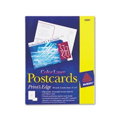 Postcards, Color Laser Printing, 4 x 6, Uncoated White, 2 Cards/Sheet, 80/Box