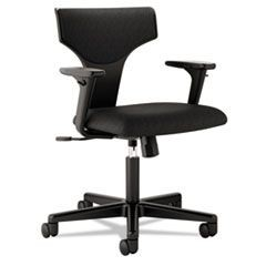 VL258 Series Task Chair With Arms, 100% Polyester, Black Upholstery/Frame