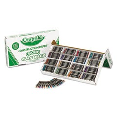 Construction Paper Crayons, Wax, 25 Sets of 16 Colors, 400/Box