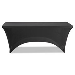 "1Stretch-Fabric Table Cover, Polyester/Spandex, 30"" x 72"", Black"