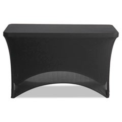 "1Stretch-Fabric Table Cover, Polyester/Spandex, 24"" x 48"", Black"
