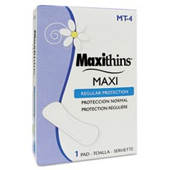Maxithins Vended Sanitary Napkins #4, 250 Individually Boxed Napkins/Carton