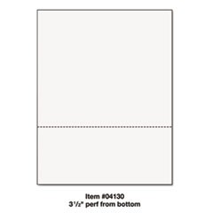 "Office Paper, Perforated 3 1/2"" Horizontal from Bottom, 8 1/2 x 11, 24lb, 500/Rm"