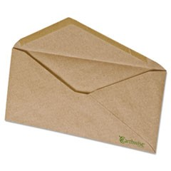 Earthwise 100% Recycled Paper Envelope, V-Flap, #10, Natural Brown, 500/Box
