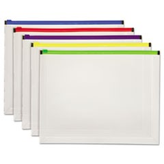 Poly Zip Envelope, Zipper Closure, 10 x 13, Assorted, 5/Pack