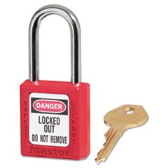 "Government Safety Lockout Padlock, Zenex, 1 1/2"", Red, 1 Key, 6/Box"