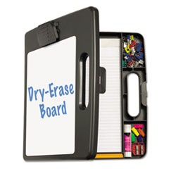 "1Portable Dry Erase Clipboard Case, 4 Compartments, 1/2"" Capacity, Charcoal"