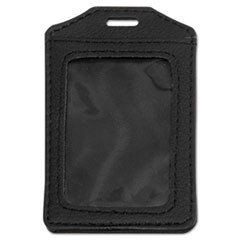 Leather-Look Badge Holder, 3 x 4, Vertical, Black, 5/PK